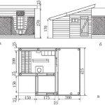 Схема постройки курятника: а - главный вид; б - вид сбоку; в - схема внутреннего устройства