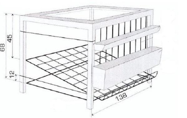Чертеж самодельной конструкции с размерами