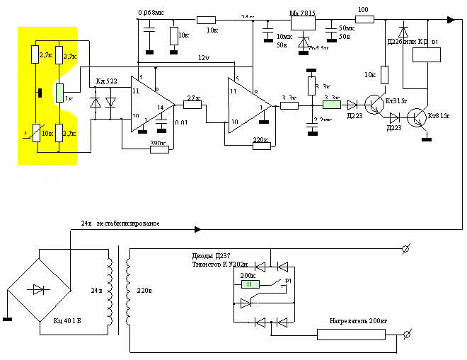 Электросхема инкубатора из холодильника