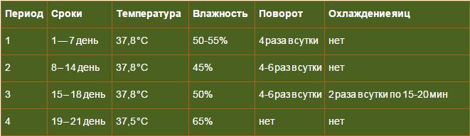 Таблица периодов инкубации